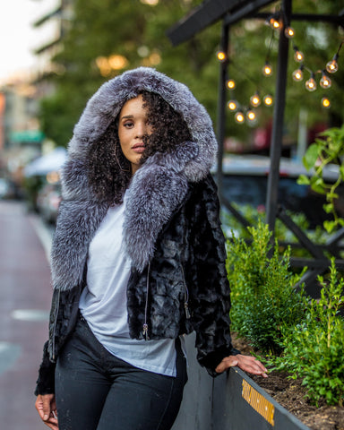 WOMEN MINK- BLACK MINK BIKER WITH GREY FOX FUR
