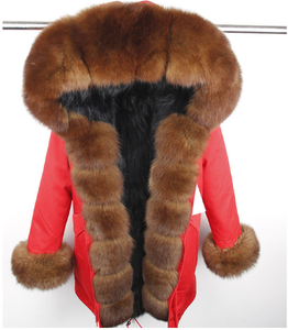 WOMEN PARKA- RED WITH BROWN FOX FUR