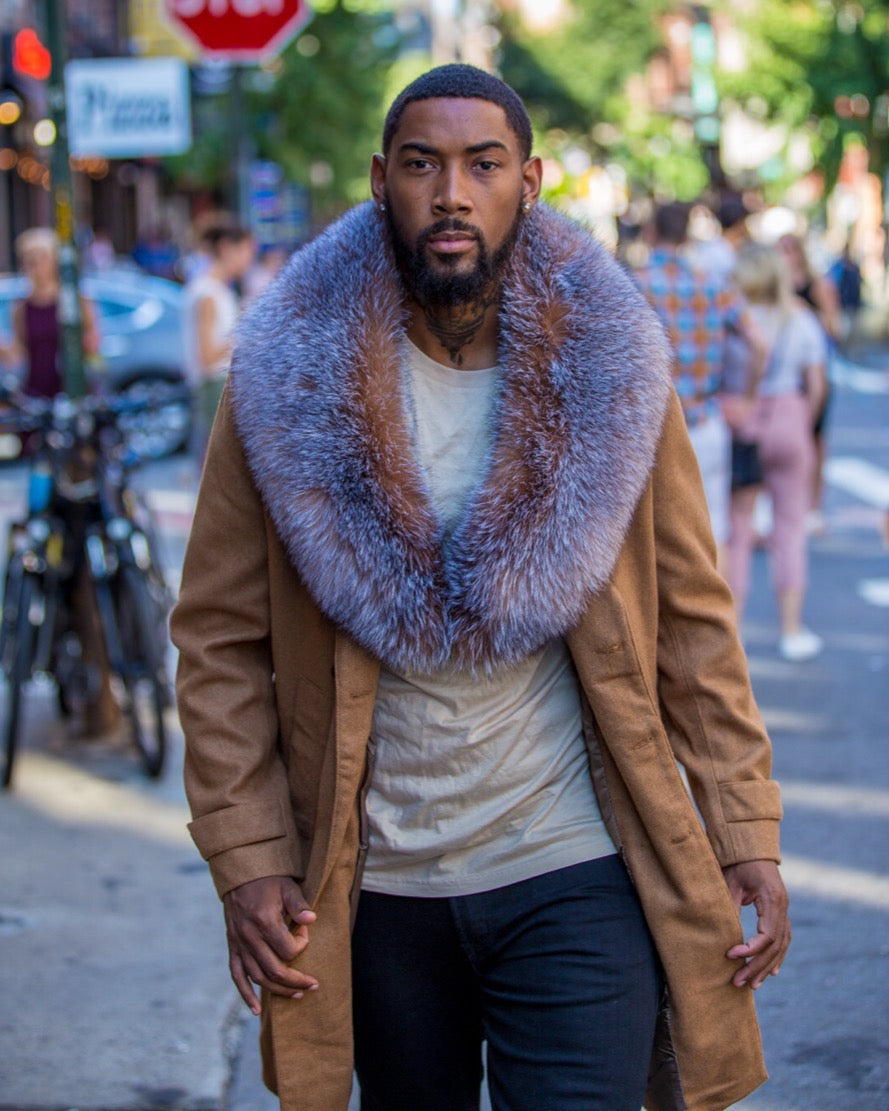 MEN TRENCH 3/4 PEACOAT-  TAN WITH CRYSTAL FOX FUR COLLAR