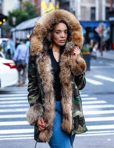 WOMEN PARKA- CAMO WITH NATURAL FOX FUR