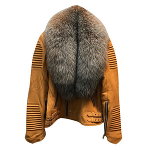 MEN TAN- BIKER RIBBLES WITH CRYSTAL FOX FUR
