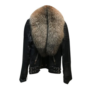 MEN BLACK- BIKER RIBBLES WITH CRYSTAL FOX FUR