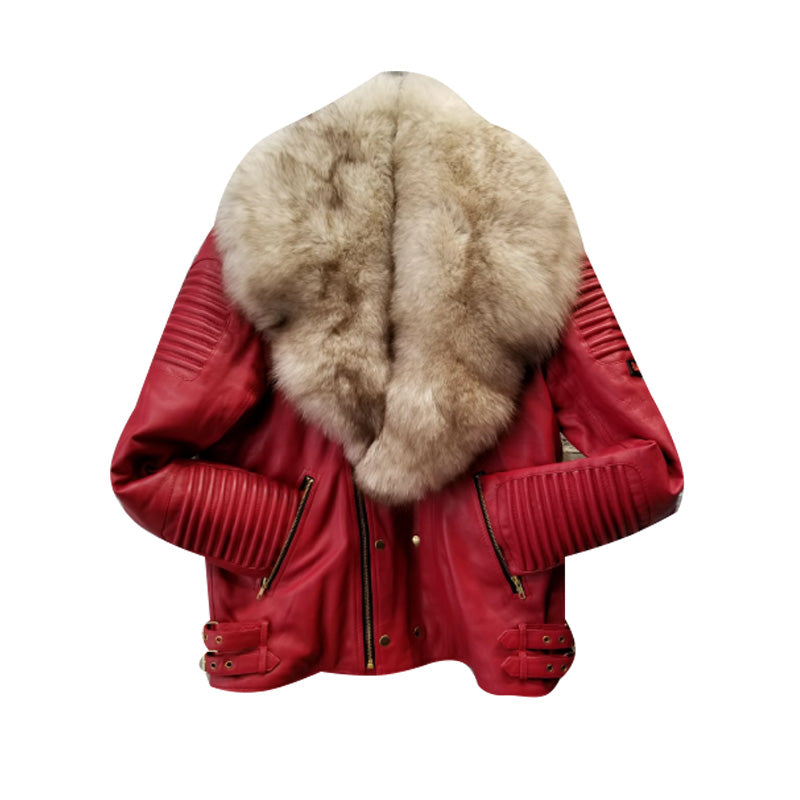MEN RED- BIKER RIBBLES WITH OFF WHITE FOX FUR