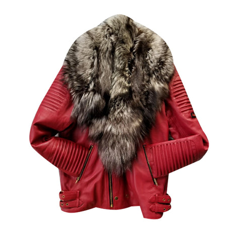 MEN RED- BIKER RIBBLES WITH CRYSTAL FOX FUR