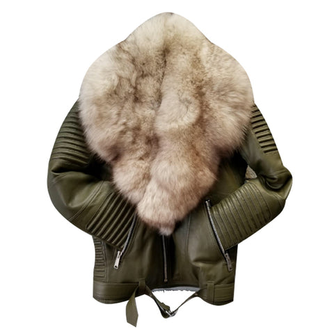 MEN GREEN- BIKER RIBBLES WITH OFF WHITE FOX FUR