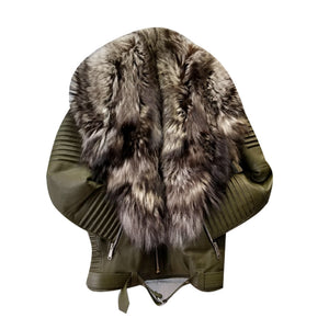 MEN GREEN- BIKER RIBBLES WITH CRYSTAL FOX FUR
