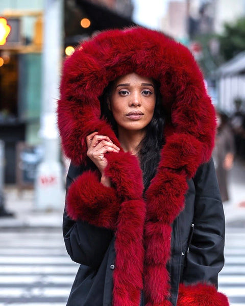 WOMEN PARKA- BLACK WITH BURGUNDY FOX FUR