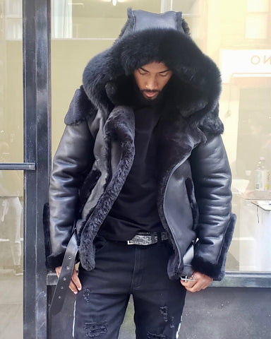 MEN SHEARLING-  BLACK BIKER STYLE WITH BLACK FOX FUR HOOD