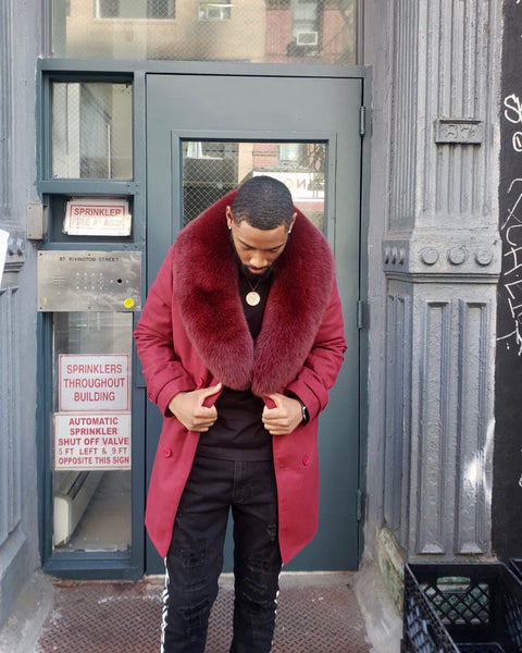 MEN TRENCH 3/4 PEACOAT-  BURGUNDY WITH BURGUNDY FOX FUR COLLAR