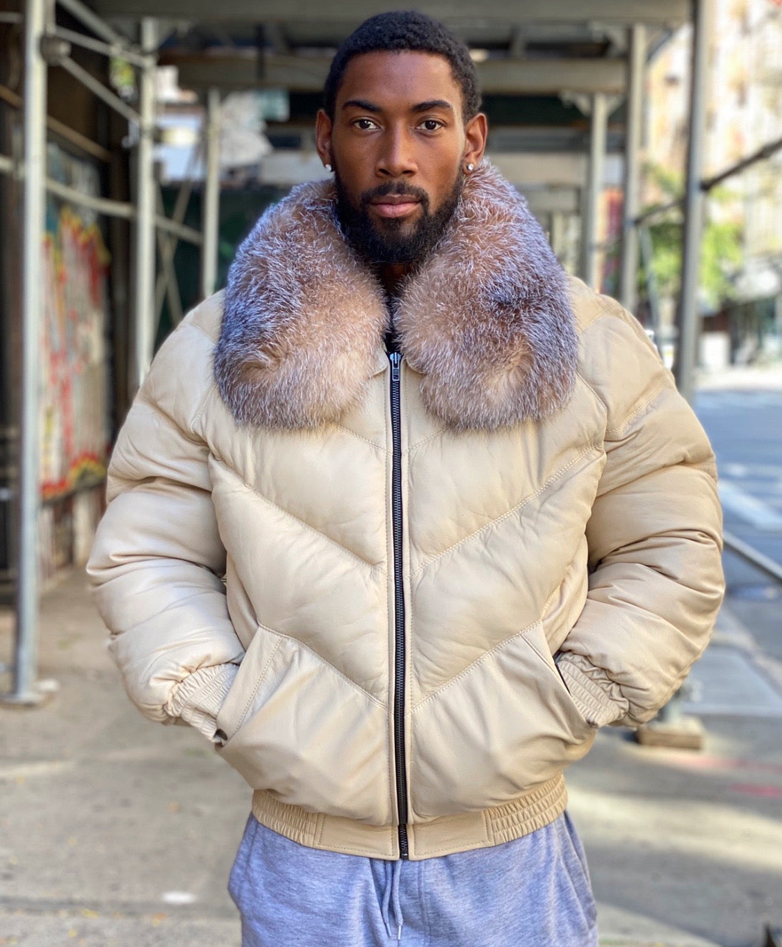 MEN V BOMBER- CREAM COLOR WITH CRYSTAL FOX
