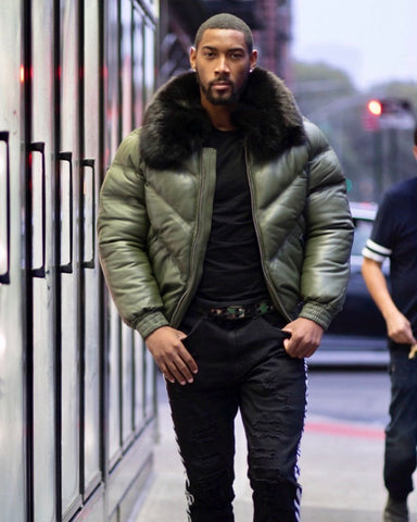MEN V BOMBER- OLIVE GREEN ( BLACK FUR)