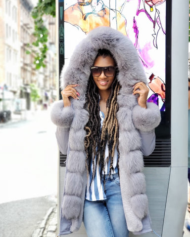 WOMEN PARKA- GREY WITH GREY FOX FUR
