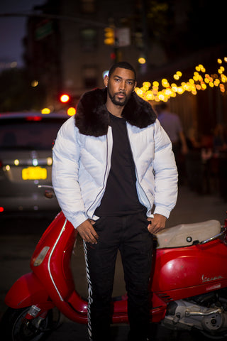 MEN V BOMBER- WHITE (BLACK FUR)