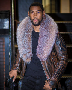 MEN WAX BROWN- BIKER RIBBLES WITH CRYSTAL FOX FUR