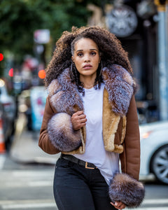 WOMEN SHEARLING- CROP TOP COGNAC WITH CRYSTAL FOX FUR