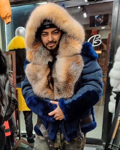 MEN SHEARLING- NAVY BLUE BIKER STYLE WITH CRYSTAL FOX FUR & HOOD