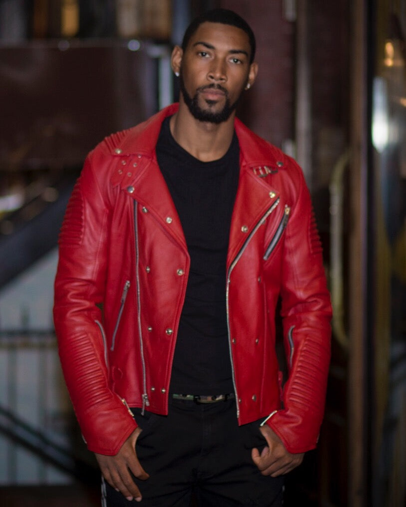 MEN PLAIN RED- BIKER RIBBLES WITHOUT FUR