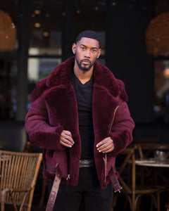 MEN SHEARLING- BURGUNDY BIKER STYLE