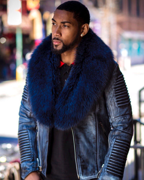 MEN WAX NAVY BLUE- BIKER RIBBLES WITH BLUE FOX FUR