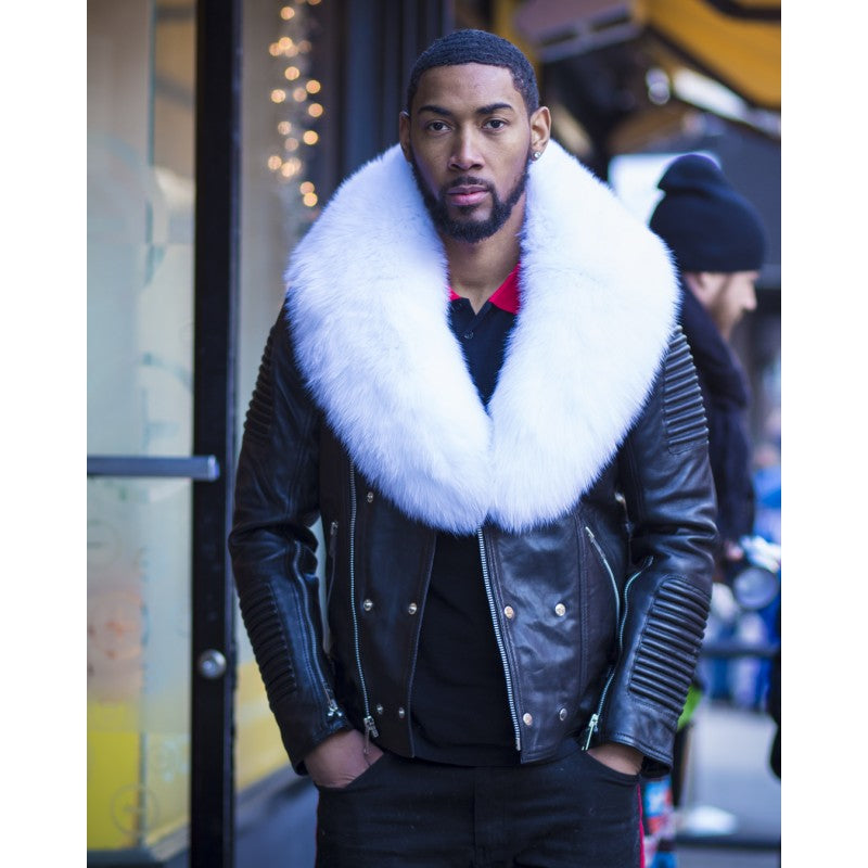 MEN BLACK- BIKER RIBBLES WITH WHITE FOX FUR