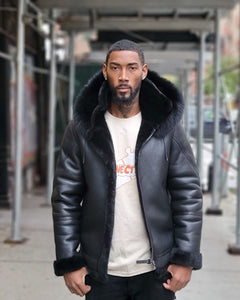 MEN SHEARLING-  BLACK BOMBER STYLE WITH BLACK FOX FUR HOOD