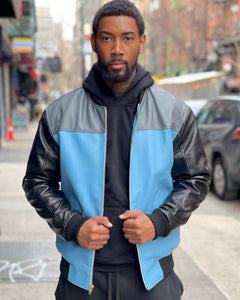 MEN -BASEBALL STYLE JACKET BLACK/BABY BLUE/GREY