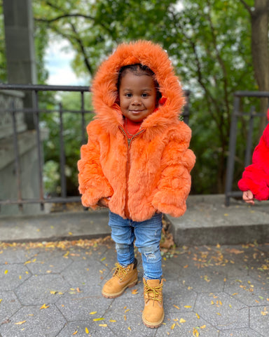 KIDS- ORANGE FUR WITH HOOD