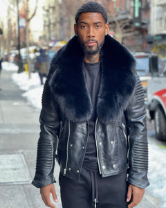 MEN BLACK- BIKER RIBBLES WITH BLACK FOX FUR