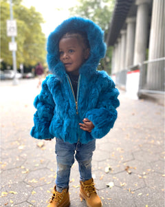 KIDS- BLUE FUR WITH HOOD