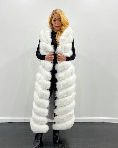 WOMEN FULL LENGTH FOX VEST-WHITE