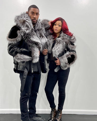 HIS & HERS- BLACK SHEARLING WITH SLIVER FOX
