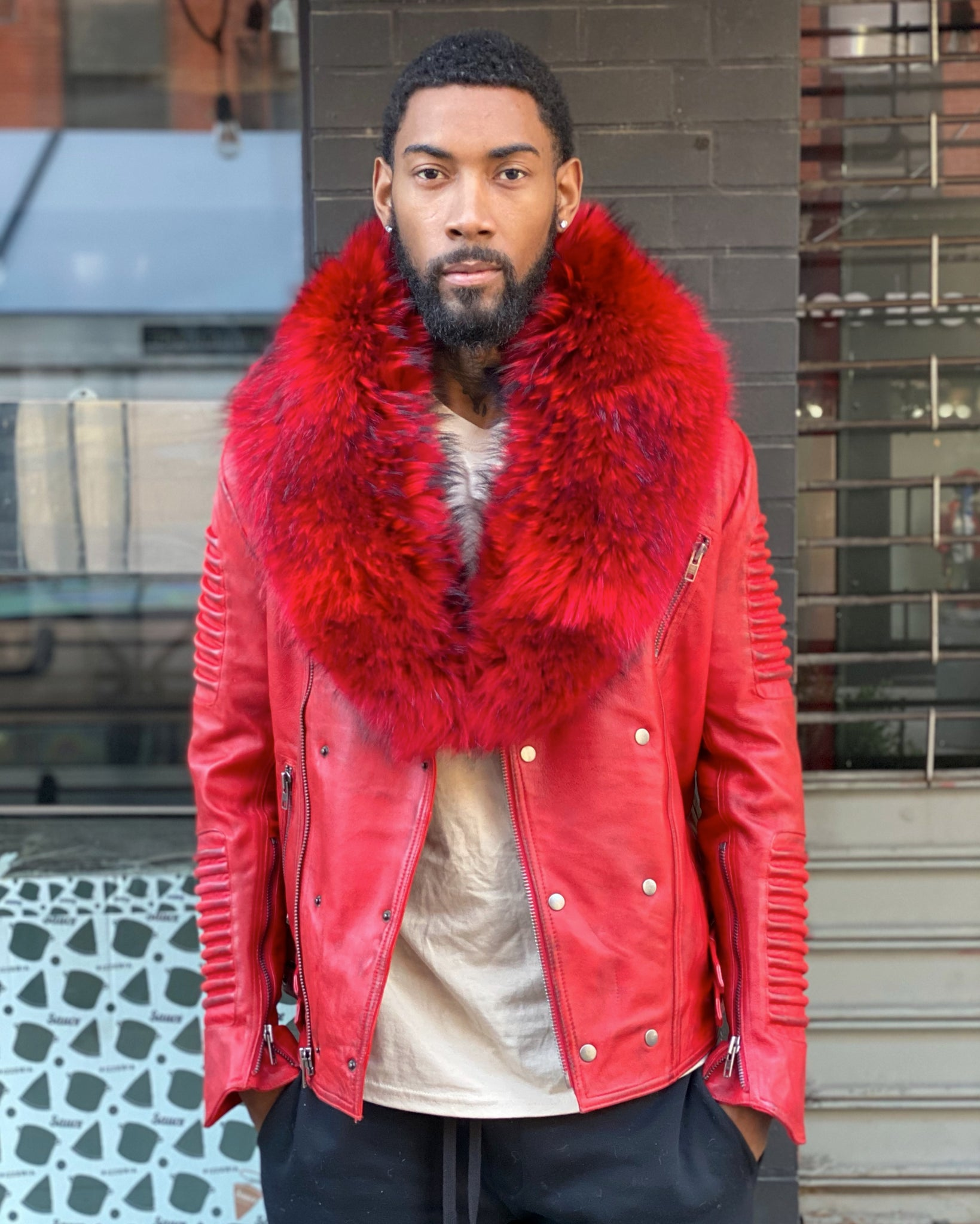 MEN BIKER RIBBLES- DISTRESSED RED WITH RED FOX FUR