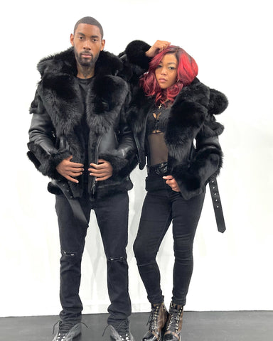 HIS & HERS- BLACK BIKER SHEARLING WITH BLACK FOX