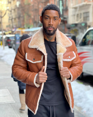 MEN SHEARLING-  COGNAC DENIM STYLE SHEARLING