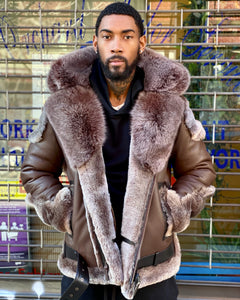 MEN SHEARLING- BROWN BIKER STYLE WITH BROWN FOX FUR & HOOD