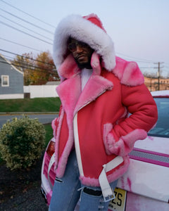 MEN SHEARLING- CAMRON PINK BIKER STYLE WITH WHITE FOX HOOD