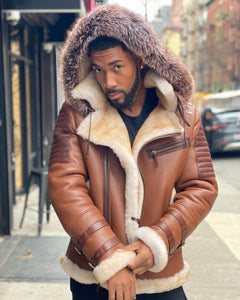 MEN SHEARLING-  TAN RIBBLES SHEARLING WITH FOX HOOD