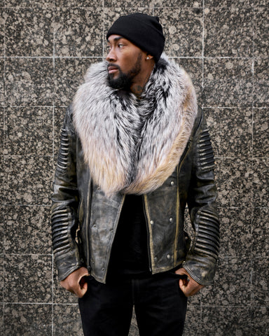 MEN WAX GOLD- BIKER RIBBLES WITH GOLD FOX FUR