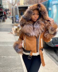 WOMEN SHEARLING- TAN SHEARLING WITH GOLD FOX FUR AND HOOD