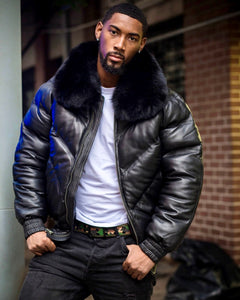 MEN V BOMBER- BLACK (BLACK FUR)