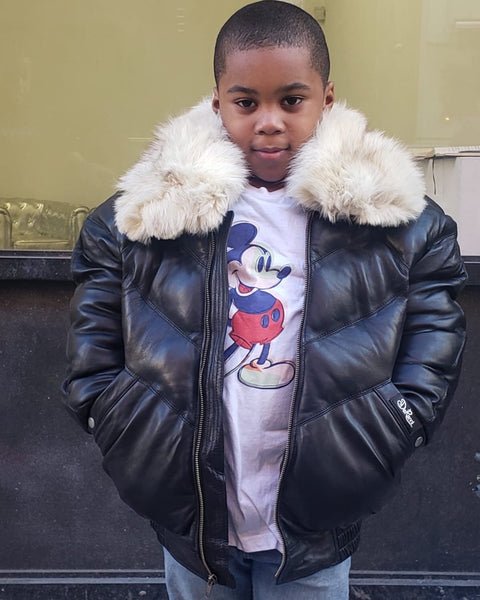 KIDS- BLACK V BOMBER WITH OFF WHITE FOX COLLAR