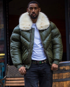MEN V BOMBER- MONEY GREEN (OFF WHITE FUR)