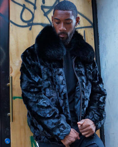 MEN MINK-  BLACK MINK BOMBER