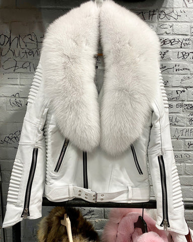 MEN WHITE- BIKER RIBBLES WITH WHITE FOX FUR