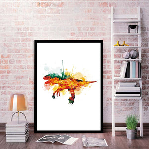 Watercolor Dinosaur Art Canvas Painting