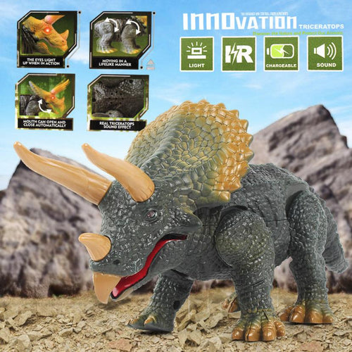 Remote Control Dinosaur Triceratops With Light & Sounds