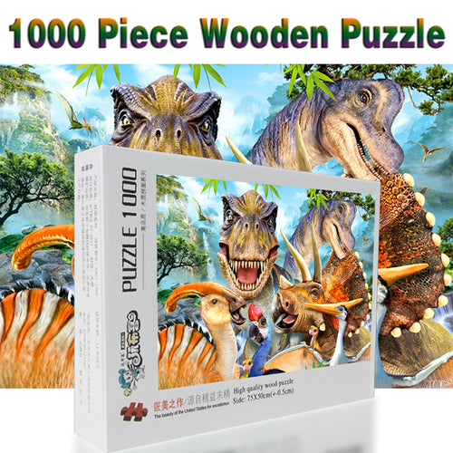 The family of Dinosaurs 1000 Piece Wooden Puzzle