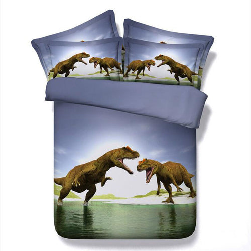 3D Dinosaur Bedding 3pc Set With Bed Sheets & Pillow Cases