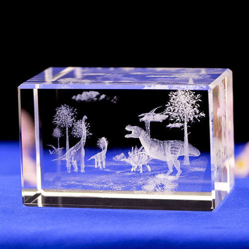 Laser Engraved 3D Internal Glass Dinosaur Sculpture