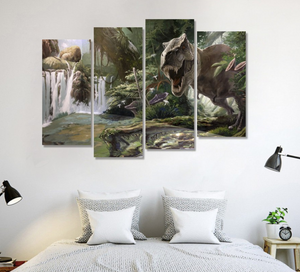 4 Panel T-Rex Canvas Painting